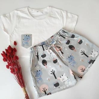 """Женская пижама из трикотажной футболки и шортов с принтом """"Косули в лесу"""""""