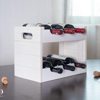 Подставка - ящик для бутылок белого цвета