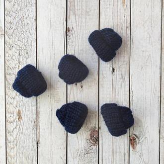 Вязанные шапочки темно-синие 35*35 мм. 1 шт