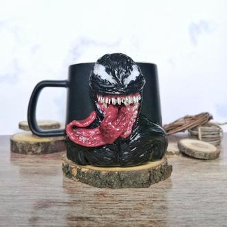 Чашка Веном кружка с декором полимерная глина