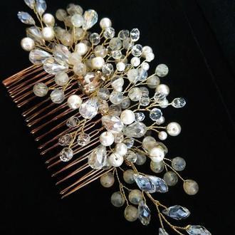 Свадебный гребень для волос с полудрагоценным камнем цитрином и чешским стеклом