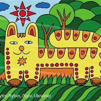Кот на зеленом лугу. Принт А3.