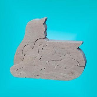 Деревянный пазл (Кот с рыбкой)