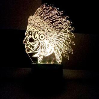 Ночник, LED лампа, светильник Индеец, подарок на день рождения, сувенир, необычный, декор, интерьер