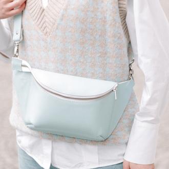 Женская сумка бананка на пояс или через плечо ручной работы из натуральной кожи с легким ма