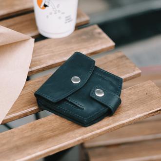 Миниатюрный кошелек ручной работы черного цвета из натуральной винтажной кожи
