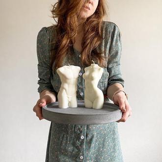 Свечи из соевого воска 15см в виде мужского и женского торса. Лучший подарок
