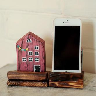 Подставка под телефон Милые Домики деревянная