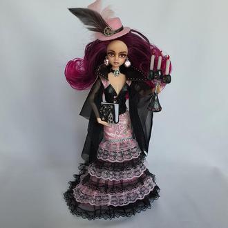 Вампир стимпанк, розовые вьющиеся волосы омбре, нежная готика