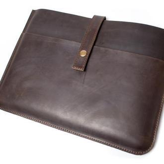 Кожаный чехол для Macbook на кнопке. 03004/коричневый