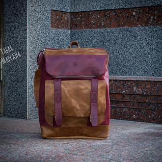 Городской кожаный рюкзак. Женский повседневный рюкзак