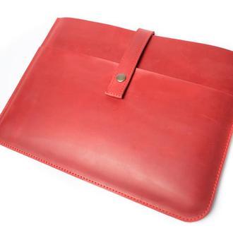 Кожаный чехол для Macbook на кнопке. 03004/красный