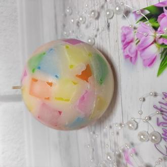 Свеча-мозаика в форме шарика и ароматом апельсина