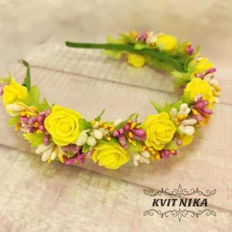 Весенний венок с желтыми розами для девочки на утренник, день рождение или фотосессию