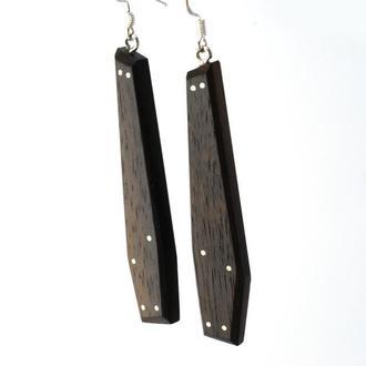 Серьги из дерева с эпоксидной смолой и вставками из серебра (261)