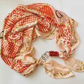 """Шелковый шарф """"Пудровый """", атласный платок, шарф-колье, шарф-чокер, шейный платок"""