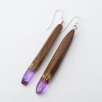 Серьги из дерева с эпоксидной смолой и (500)