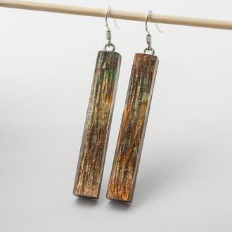 Серьги из дерева с эпоксидной смолой (501)