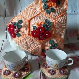 Чайный комплект Соты грелка на заварник с подставками для чашек