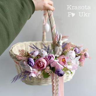 Кошик вибілений з декором в лілово-рожевому декорі з зайчиком (34*21 см)