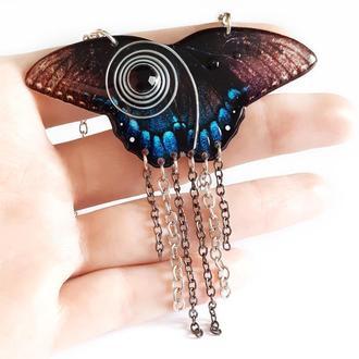 """Подвеска """"Полет бабочки"""" с черным стразом"""