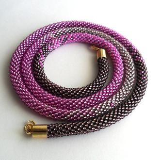 Розовый тонкий жгут из чешского бисера с эффектом омбре