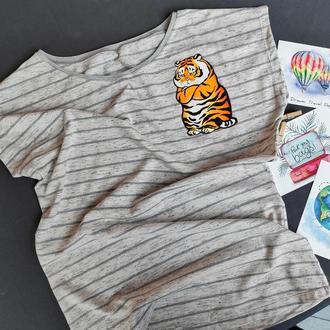 """Футболка-тельняшка с рисунком """"Грустный тигр"""""""