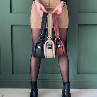 Сумка багет . Маленькая сумочка из экокожи . Трендовая сумка. Бордовая сумка