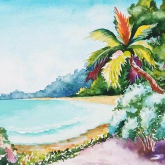 """Акварель, морський пейзаж """"Гаваї"""", блакитний, зелений"""