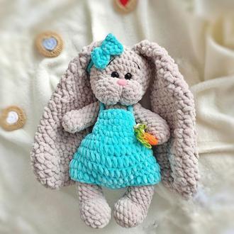 Плюшевая зайка с длинными ушками, детская вязанная игрушка, 26-32 см