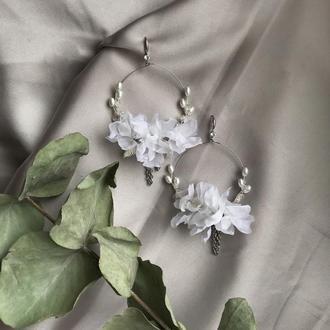 Сережки з шовковими квітами
