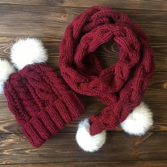 Дитячий набір шапка та шарф, бордовий з білим, зв'язаний власноруч. MoziOne