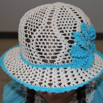 Белая летняя шляпа для девочки с голубым цветком из хлопка. Размер на выбор