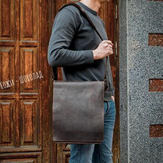 Кожаная мужская повседневная сумка. кожаная сумка мессенджер.