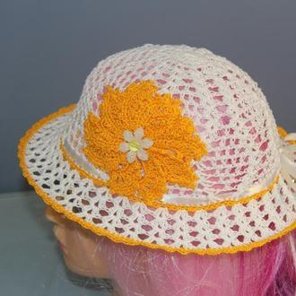 Белая летняя шляпка для девочки с желтым цветком. Размеры на выбор