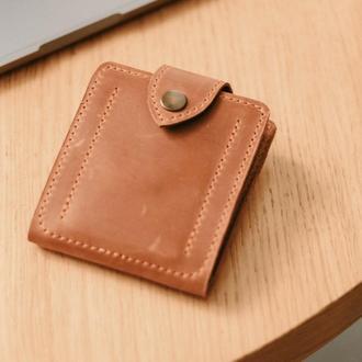 Зажим с монетницей  коньячного цвета из натуральной винтажной кожи