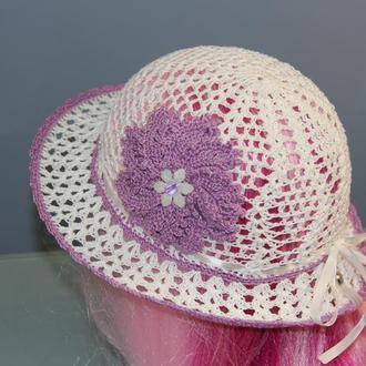 Белая летняя шляпа для девочки с сиреневым цветком. Размеры на выбор