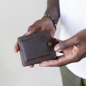 Затискач з монетницею  коричневого кольору з натуральної вінтажної шкіри