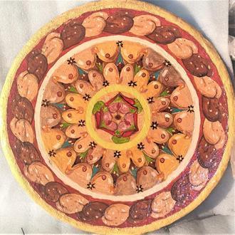 """Декоративная тарелка диаметром 42 см """"Желание""""  шамотной трипольской глины"""