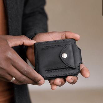 Зажим с монетницей черного цвета из натуральной винтажной кожи