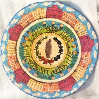 """Блюдо кераміка тарілка """"Спіраль. Лазур"""" 40-42 см велика настінна"""