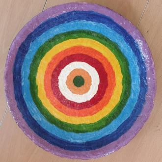 """Декоративна тарілка діаметром 30 см """"Спектр Дня"""" шамотної глини трипільської стане вишуканим"""