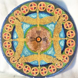 """Декоративная тарелка диаметром 42 см из """"GLORY ETRNITY"""" шамотной трипольской глины станет изысканным"""