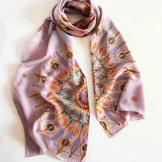Длинный шелковый шарф  росписи с мандалами, сиреневый женский батик шарф