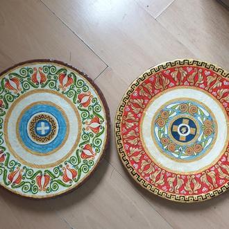 """Декоративная тарелка диаметром 42 см """"ATHENS"""" из шамотной трипольской глины"""