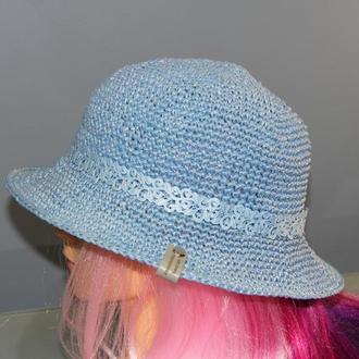 Летняя синяя шляпа из рафии, женская