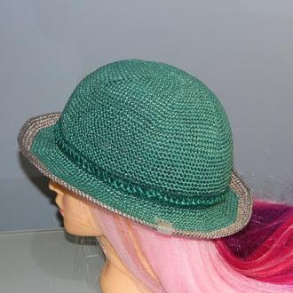Женская шляпа из рафии, зеленая пляжная шляпа