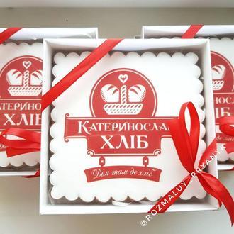 Брендированный подарочный набор Пряник с логотипом 15х15 см