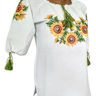 Вышитая подростковая блузка с подсолнухами с коротким рукавом