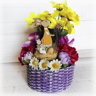 Сувенир на пасху маленькая корзинка с кроликом Пасхальная поделка в детский сад или школу